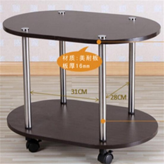 60 40 47cm Modern Wood Bedside Table Sofa Side Coffee Mobile Oval Tea