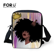 FORUDESIGNS Crossbody School Bags Teenager Girls Shoulder Bag African Princess Art Messenger Bag Women Tote Children Satchel New(China)