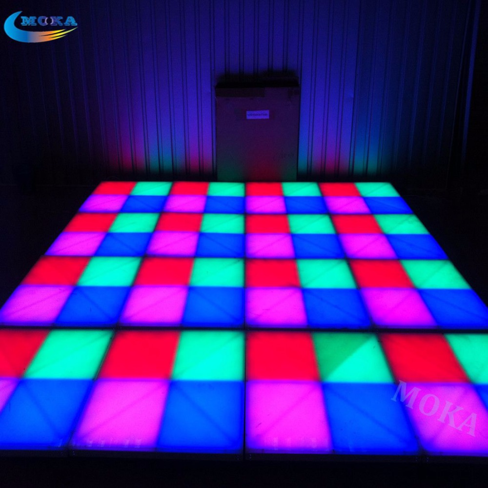32 Square meter 1M*1M LED Dance Floor RGB Color Acrylic Panel Aluminum Frame DMX Control 31 Channels Load bearing 800kg