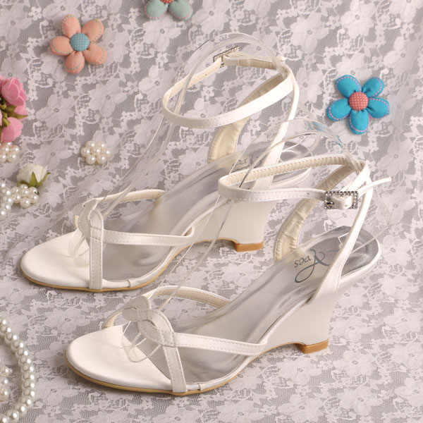 ФОТО Wedopus Ivory Satin Women Bridal Wedding Shoes Sandals Wedge Heel in Summer Size 34~42