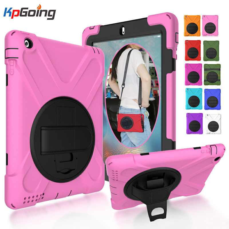 KpGoing Case For iPad 2 ipad 3 ipad 4 Kids Safe Shockproof Heavy Duty Silicone Hard PC Cover with Handle Kickstand Function
