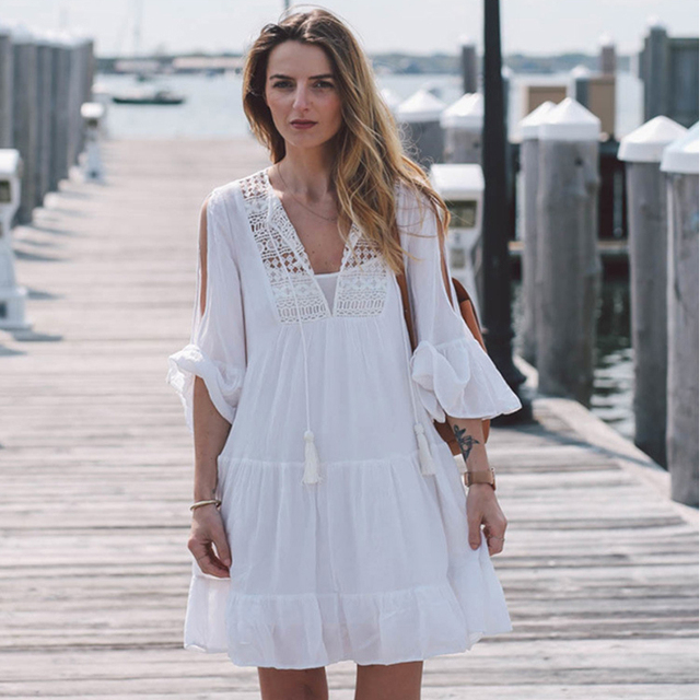 b8c725011d Sexy White Bikini Cover-Up New Long Sleeves Beach Dress Girls Holiday  Swimwear Cover Up Cotton Crochet Deep V Neck Summer Dress