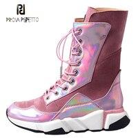 Prova Perfetto/Новейшая повседневная обувь на плоской платформе, женские короткие сапоги, розовые замшевые Лоскутные зеркальные кожаные кроссовк