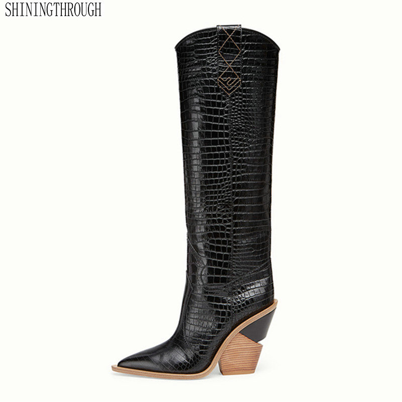 brand design thick high heel leather cowboy women dress shoes autumn winter boots pointed toe runways woman snow bootsbrand design thick high heel leather cowboy women dress shoes autumn winter boots pointed toe runways woman snow boots