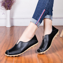 35-42 Large size Summer Casual Shoes leather Women Walking Flat Slip-On Breathable Lightweight Black Sport for