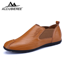 Купить с кэшбэком ALCUBIEREE Men Casual Shoes Leather High Quality Low-cut Men Shoes Flats Sneakers Male Comfortable Wild Summer Zapatos Hombre