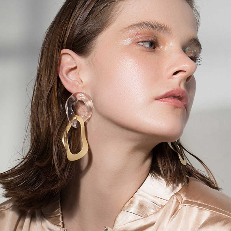 Vintage Irregular Gold Color Alloy Dangle Earring For Women Fashion Transparent Acrylic Statement Drop Earring Female Jewelry