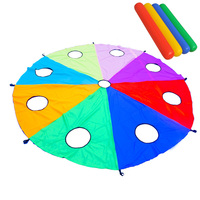 3/4/5 M Diameter Rainbow Umbrella With Hole Gophers Teamwork Game Toy For Kids Gift Outdoor Early Education Toys