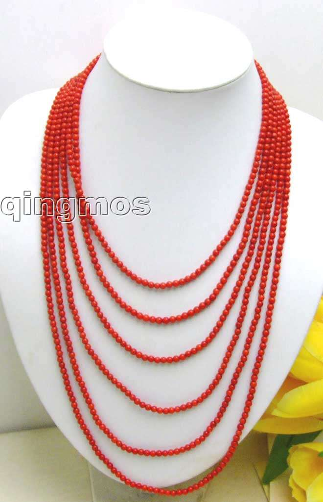 SALE Luxuriant 6 Strands 3 to 4mm GENUINE NATURAL Red Coral NECKLACE WITH Big Red CLASP-5211 Wholesale/retail Free shipping