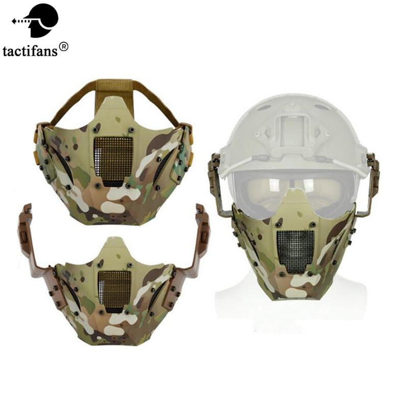 Casque tactique Vision demi-visage Paintball masque pour casque rapide connecteur ARC Rail métal maille masque CP protecteur CS jeu masque