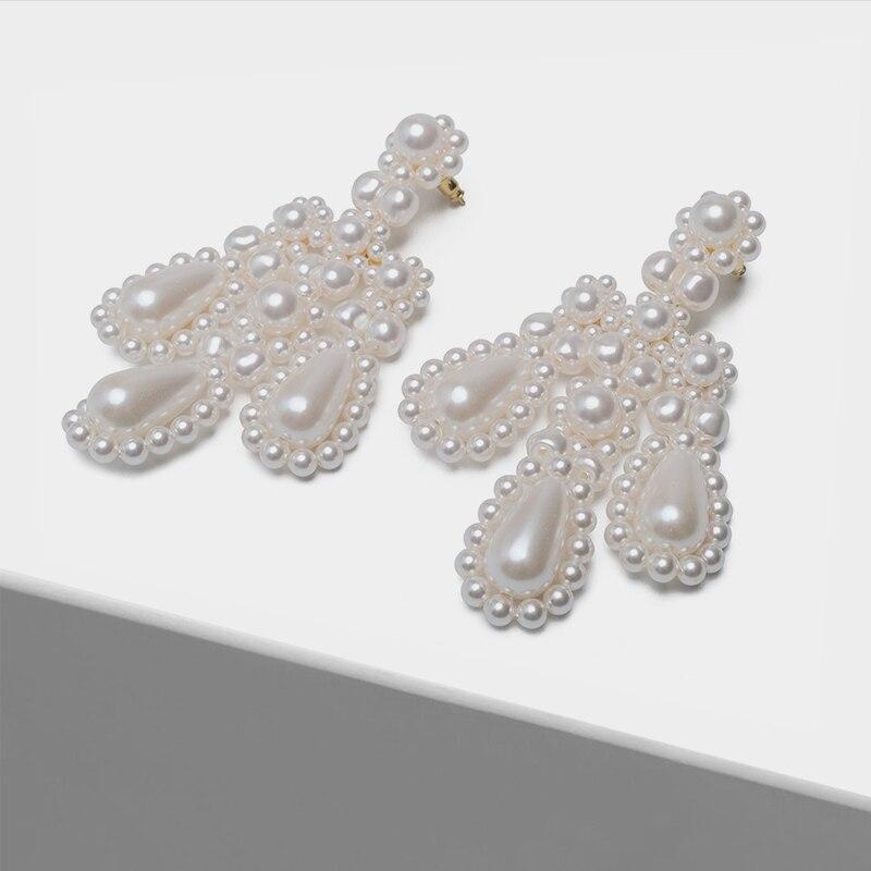 pearl large pendant fashion drop earrings