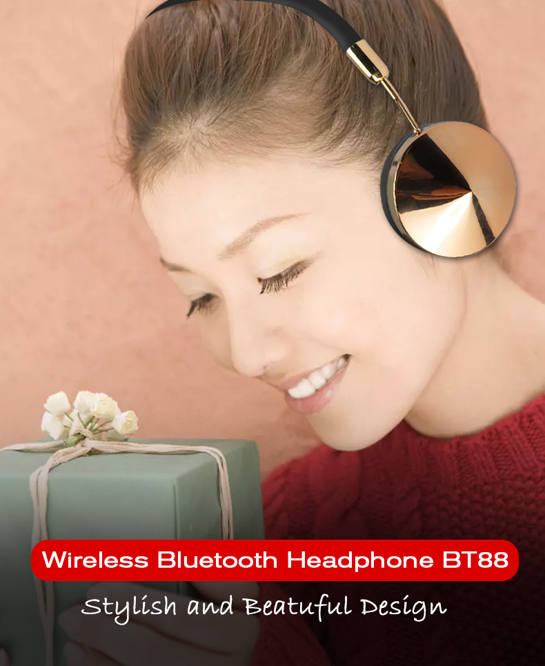 Fashion Rose Gold Wireless Bluetooth Headset Headphone with Microphone Stylish On Ear Share Headphone for Women Girl Liboer BT88 01