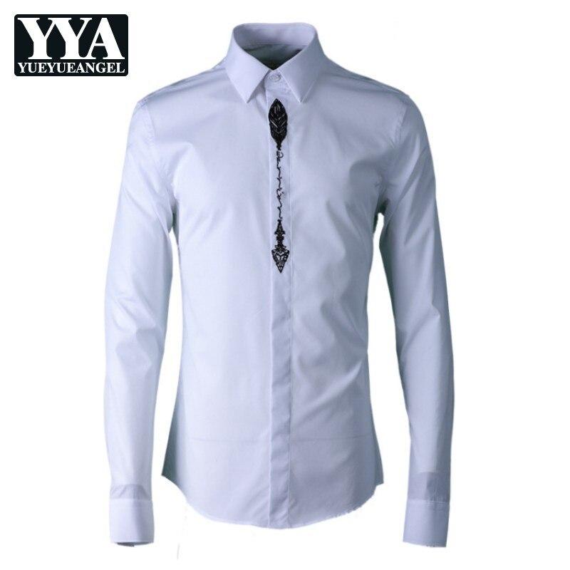 Nouveau hommes vêtements gothique brodé hommes chemise Simple mode fleur classique homme chemise blanc noir décontracté mâle haut 38 42