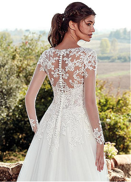 Tulle Jewel Neckline A-line Wedding Dresses With Illusion Back Lace Appliques Long Sleeves Bridal Dress vestido de noche 4