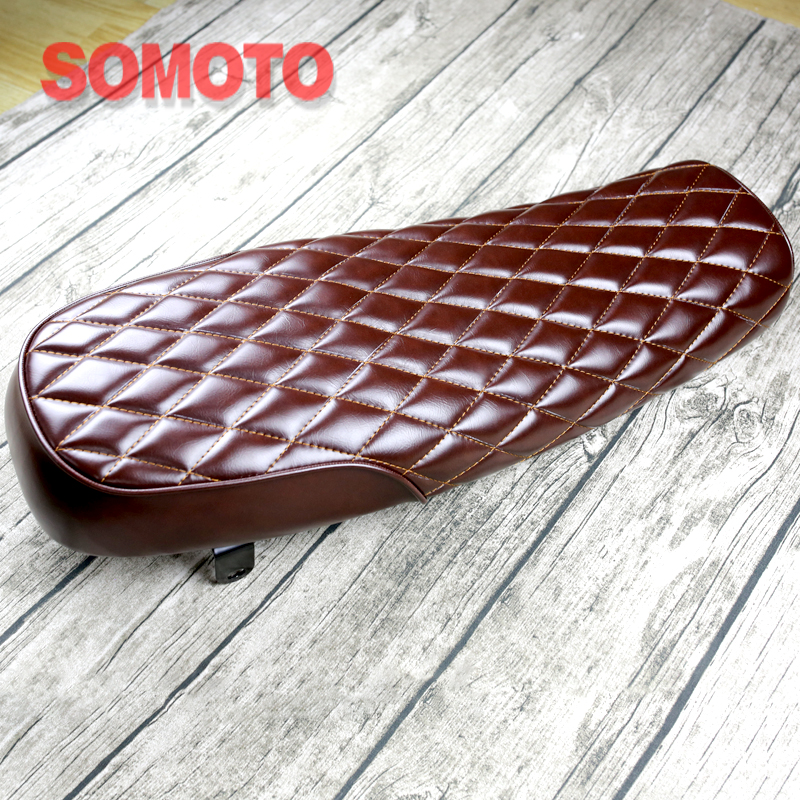 High Quality 640mm Vintage Motorcycle Seat Cushion Brown Grid Motorbike Seat Hand Made Bike seat MASH125 MUTT125 MASH250 MUTT250