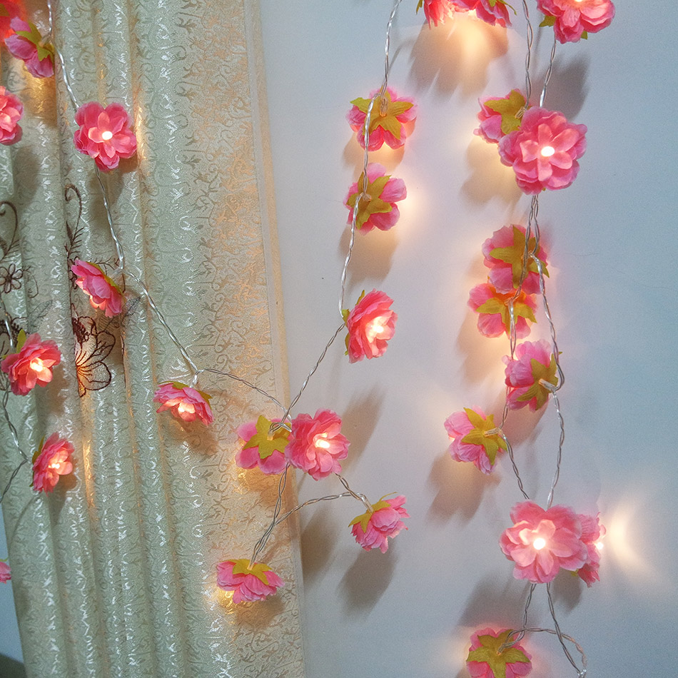 Lovely Handmade 10 meter 80pcs floral led String Lights,home room flower garland,Wedding flower decorative with led lighting