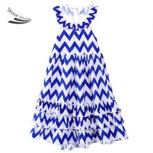 2016 Summer Style Girls A-Line Dress Sleeveless Halter Backless Casual Wavy Print Cute Multilayer Princess Dress