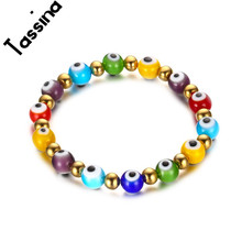 Tassina Fashion luxury  bracelet for women 8mm stainless steel colorful coloured glaze eye bracelet Ladies brand jewelry TNBR325