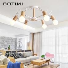 BOTIMI 木製 LED のシャンデリア白光沢寝室のランプ黒 Lustres 木製ハンギングライトダイニング Lighitng