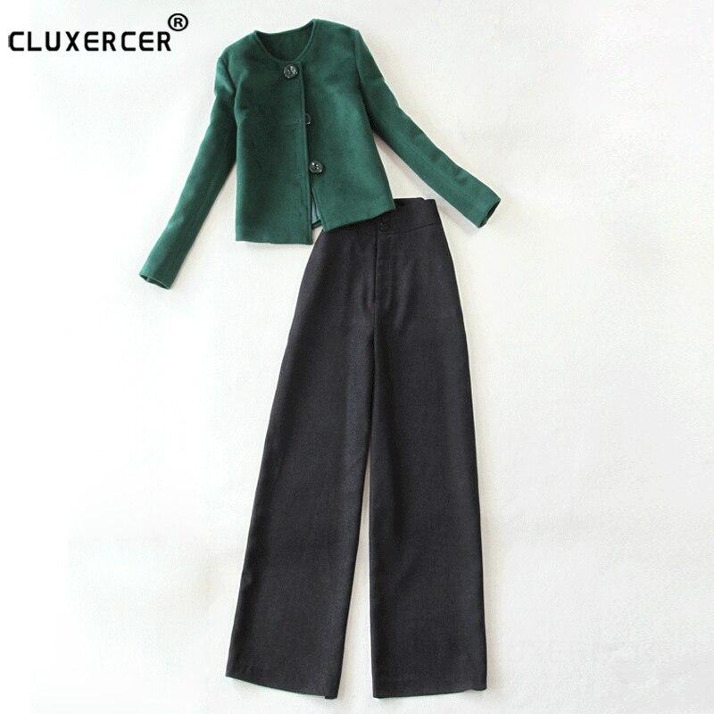 Two Pieces Set Women 2017 New Autumn and Winter Fashion Plaid jacket + High waist wide leg pants 2piece Set Office lady Suits