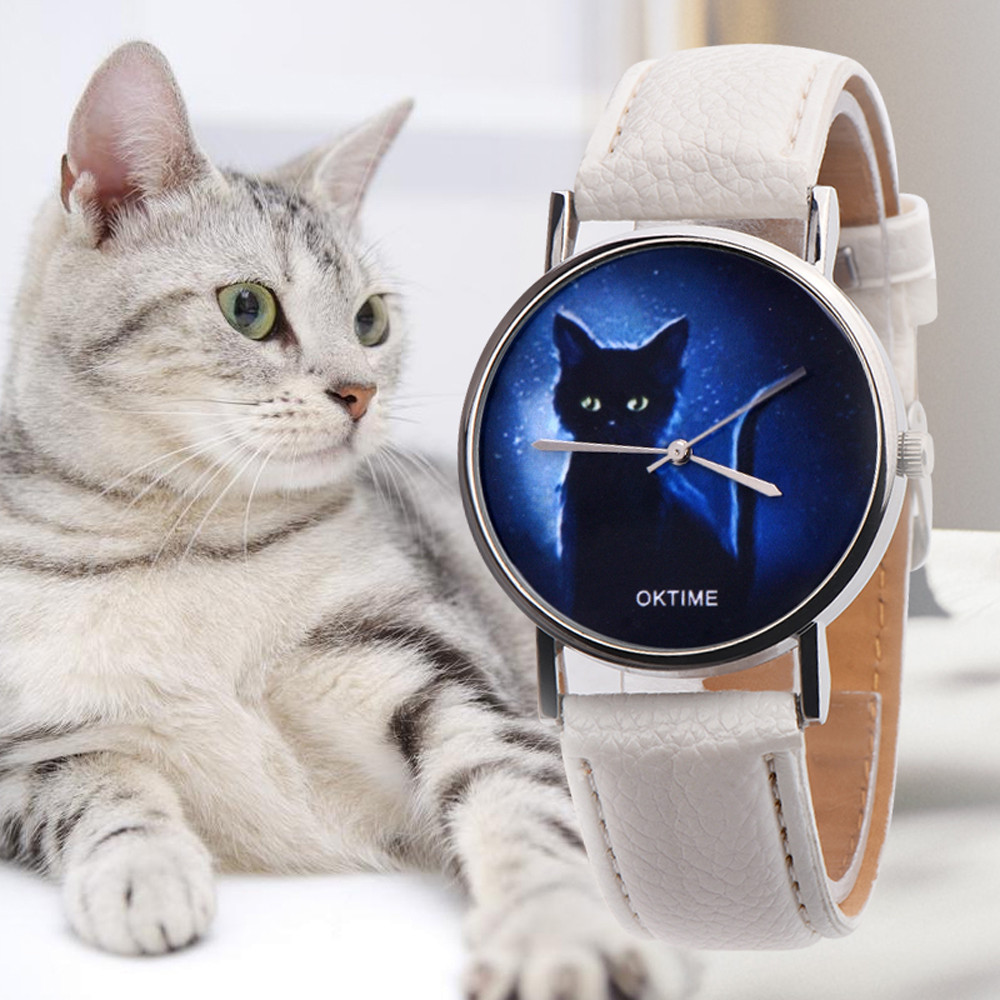 Hot Women Watch Mysterious Black Cat Printing Watch Clock Gift Luxury Leather Strap Dress Laides Quartz WristWatch Relogio Fi