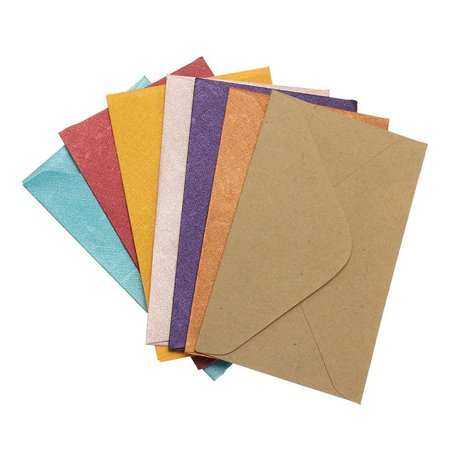 Kicute 50pcs Retro Design Small Colored Blank Mini Paper Envelopes Wedding Party Invitation Envelope Greeting Cards