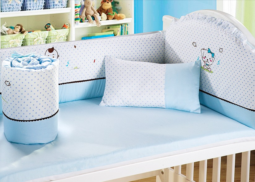 Promotion! 6PCS baby bedding set baby cot bumper cotton crib bumper baby cot sets ,include(4bumpers+sheet+pillow)
