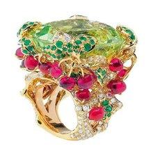 Ювелирные изделия Anillos Qi Xuan_Fashion Jewelry_Customized Green Stone роскошные кольца_ S925 Твердые серебряные кольца_ завод прямые продажи