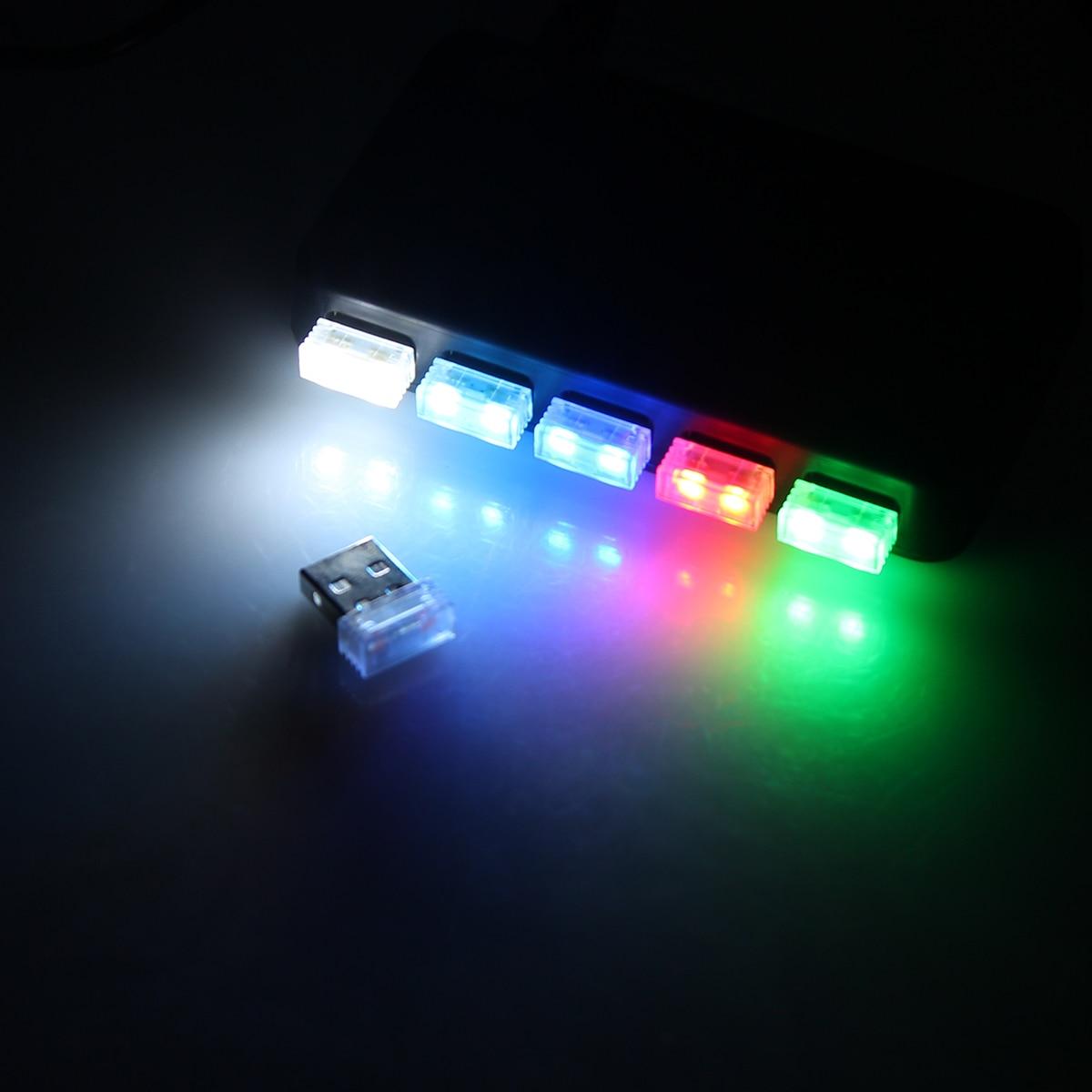 USB Mini LED Car Atmosphere Lights Cigarette Lighter Decorative Lights USB Led Light For Computer Car MP3 Player Red/Blue/White