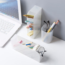 4 Grid Desktop Pen Holder Home Office School Container Desk Pencil Holder Table Top Multi-Compartment Stationery Storage Box(China)