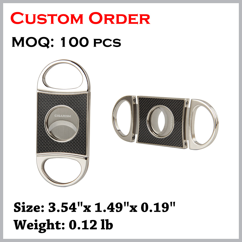 CIGARISM Carbon Fiber Stainless Steel Cigar Cutter Punch Scissors