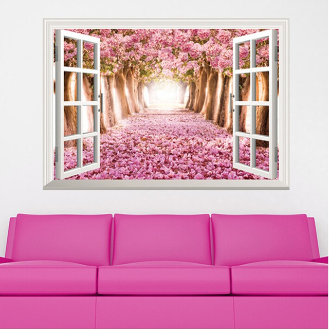Diy Open Window Sakura Vinyl Wall Stickers For Living Room Wall Art ...