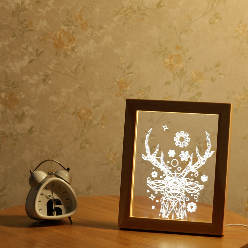 FL-715 3D Photo Frame Illuminative LED Night Light Wooden Christmas Deer USB Lamp for Bedroom Outdoor Fairy Decoration Lights