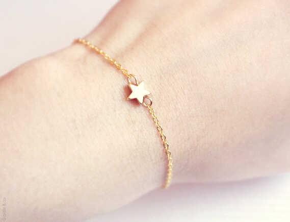 SL 024 pulsera estrella 2018 Venta caliente elegante encanto señoras moda oro simple estrella pulsera señoras joyería regalo cadena fábrica dire