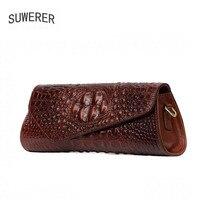 SUWERER New Superior Cowhide Genuine Leather Bag Embossed Crocodile Pattern Luxury Handbag Women Bags Designer Leather