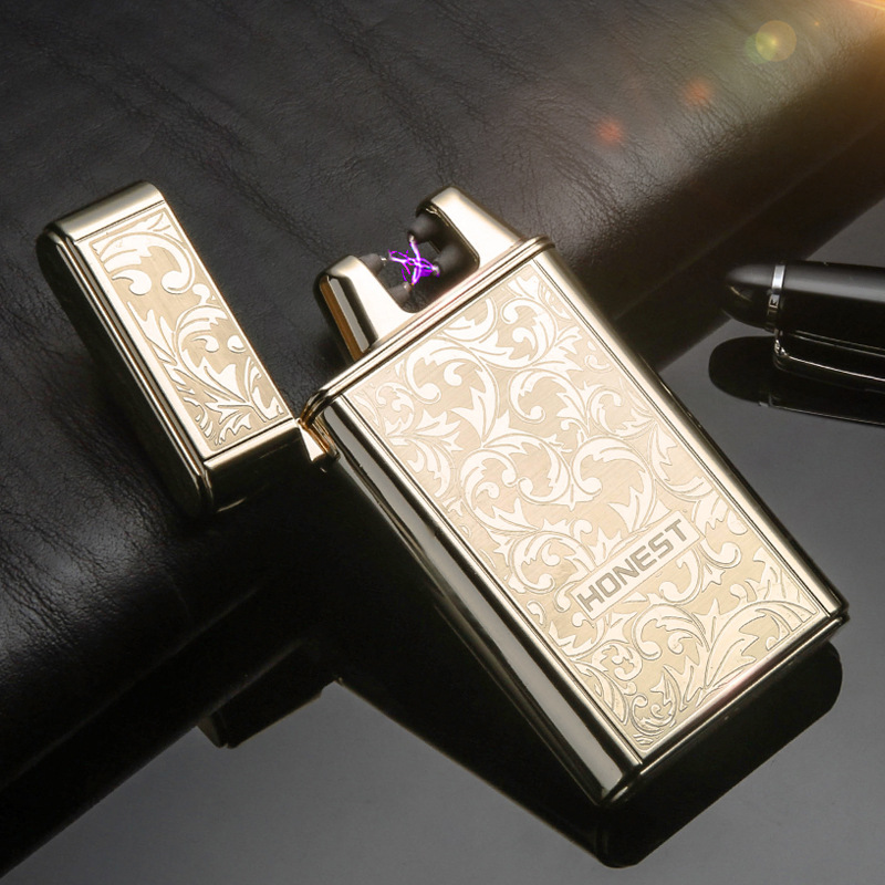 New Double Arc Lighter USB Charging Wind Proof Metal Pulse Shaking Induction Ignition Men Ladies Gadget