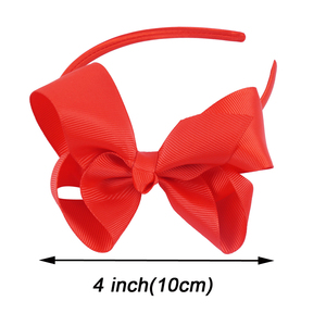 "Image 3 - 20 Pieces/lot 4"" Hair Bows Hairbands For Kids Girls Handmade Plain Ribbon Knot Bows Satin Headbands Hair Hoops Hair Accessories"