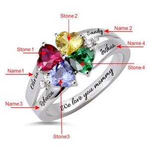 Image 2 - AILIN bague personnalisée à quatre cœurs, en pierre de naissance, avec nom gravé, en argent Sterling 925, pour mamans femmes