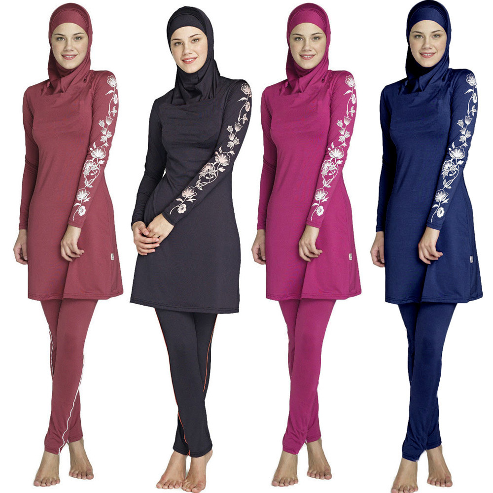 f81e62ff1bd Muslim Swimwear swimming clothes Islamic Women Modest Hijab Plus Size  Burkinis Wear Bathing Suit Beach Full Coverage Swimsuit