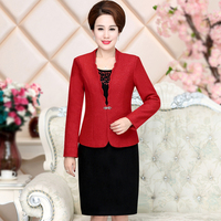 Free Shipping New High Quality Fashion Autumn Winter Women Work Wear Medium Old Age Temperament Plus Size Set Suit Mother