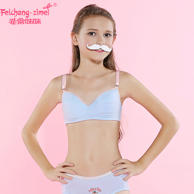 Free Shipping Feichangzimei Teen Girl Underwear Set Cotton A Cup Training Bras Set For Pubescent Girls