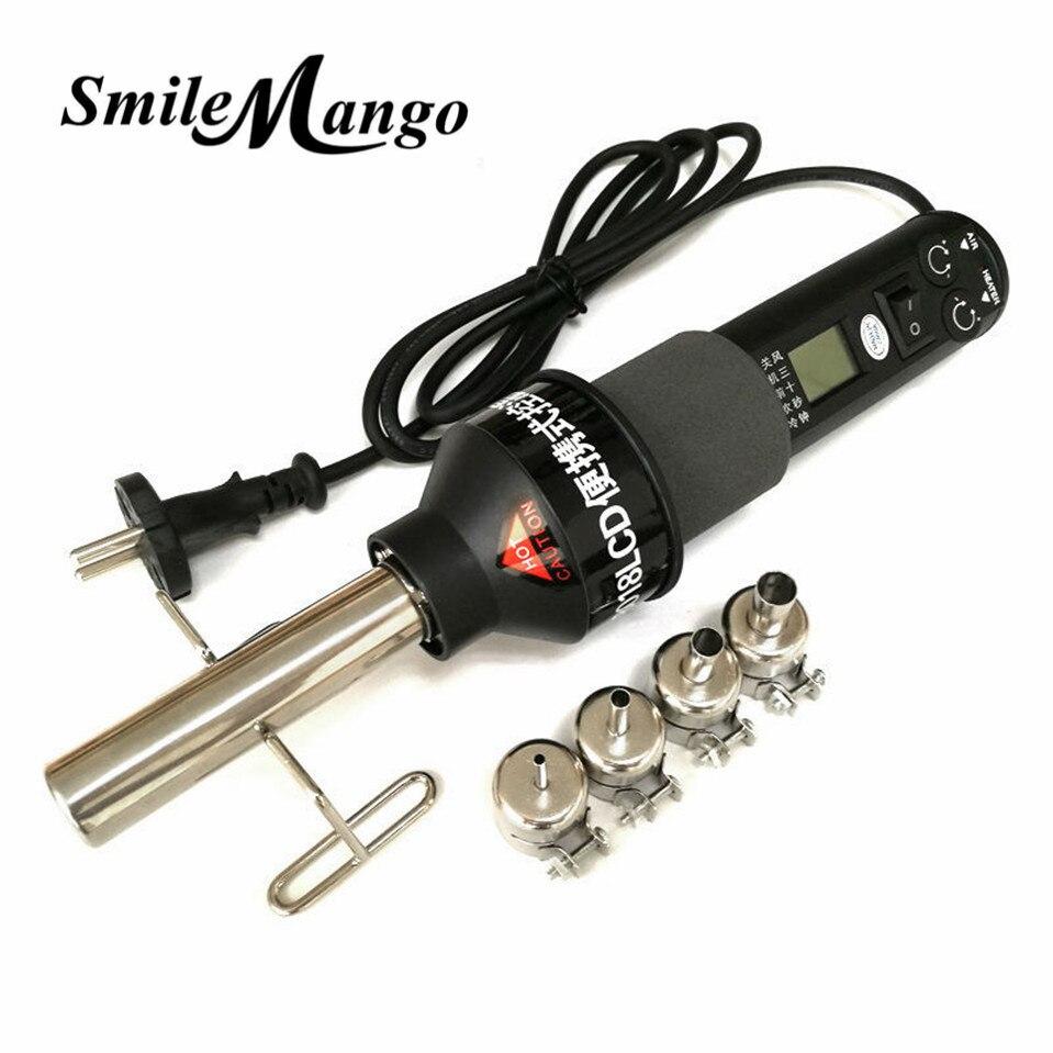 220 В 450 Вт ЖК-дисплей регулируемые электронный тепла фена фен паяльная станция IC SMD паяльная 4 сопла 8018 ЖК-дисплей