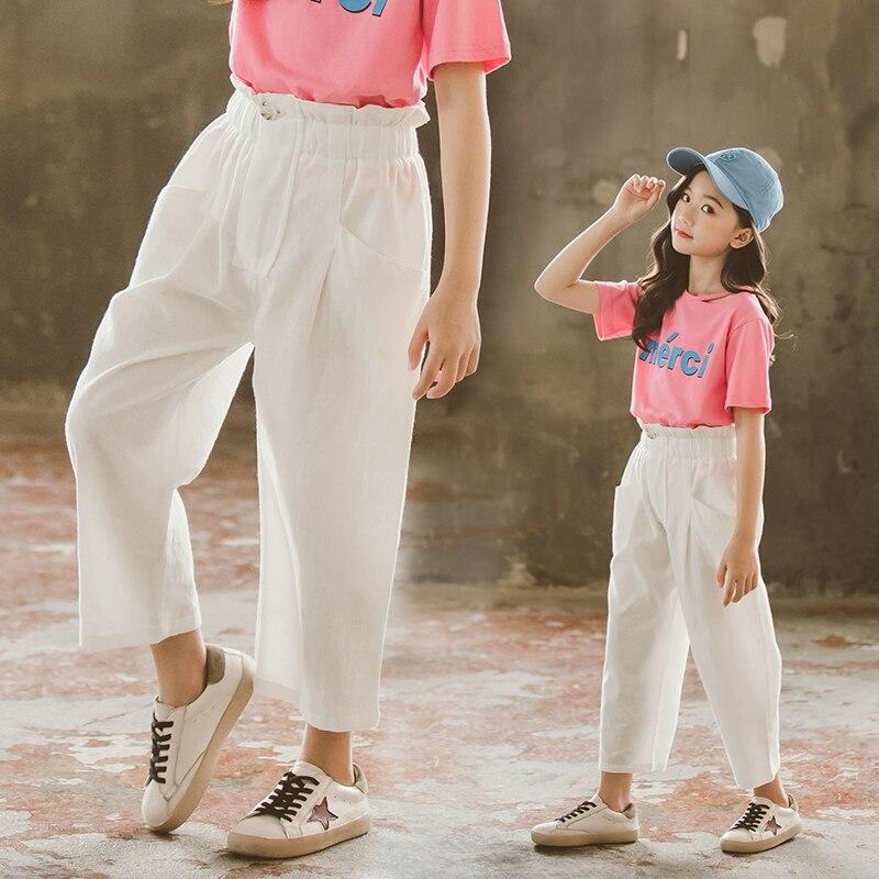 Toddler Kids Girls Pants 2019 Summer High Waist New Fashion Cotton Loose Trousers Teenage Wide Leg Pant 9 12 Spodnie Dziewczynka