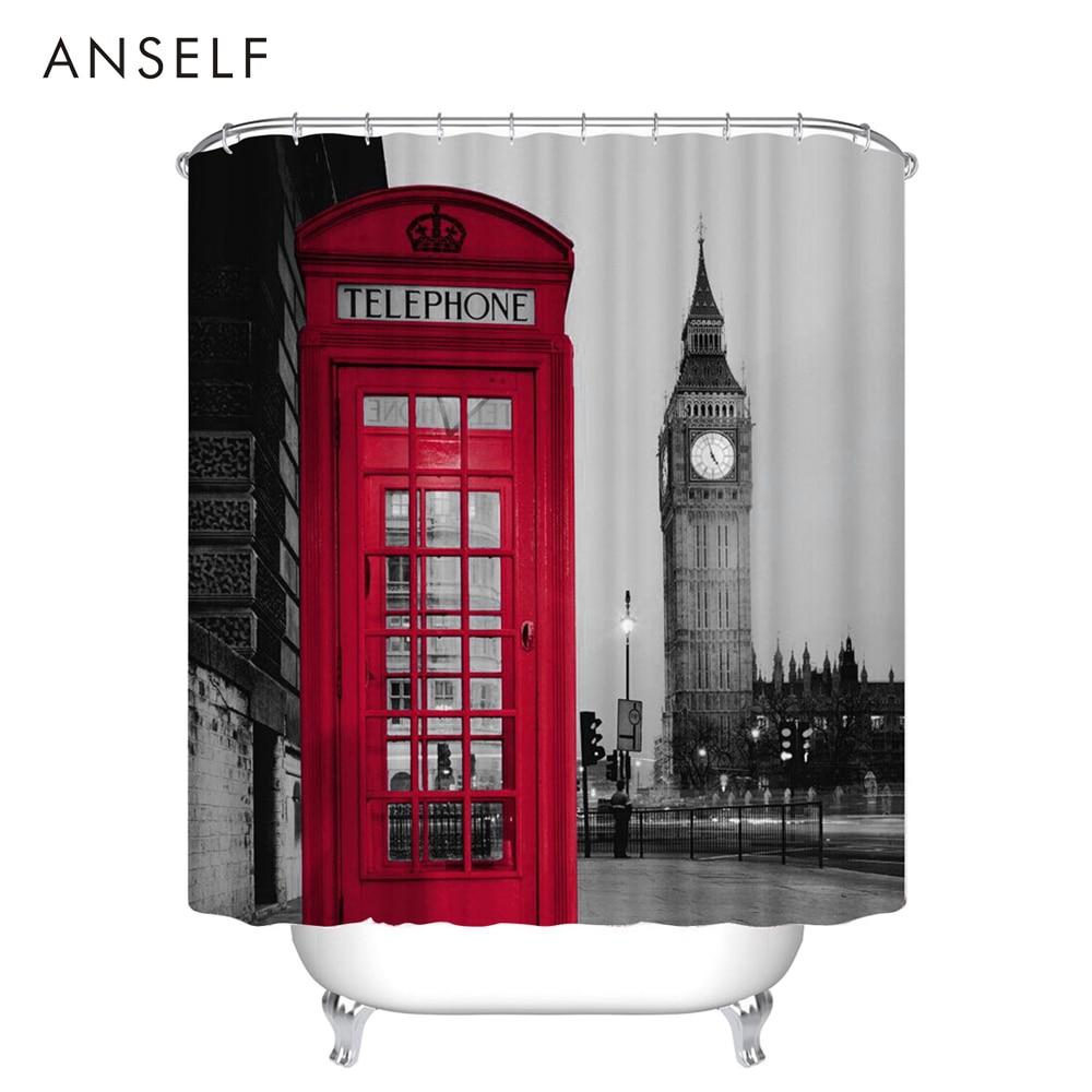 Red shower curtain - Shower Curtain 3d London Big Ben Red Telephone Booth Bathroom Waterproof Fabric Bathroom Curtains Rideau De Douche