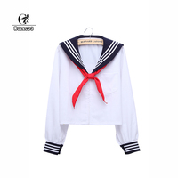 ROLECOS New Fashion Lolita Style Women Blouse Long Sleeve Color White Sailor Collar Blouses School Girl