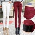Outono inverno 2016 mulheres calças calças de veludo de espessamento calças plus size S-XXXL 5 Cores calças quentes do sexo feminino branco sólida