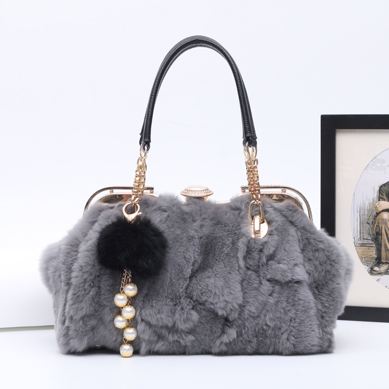 2017 Women Genuine Leather Handbags Rabbit Fur Shoulder Bag Luxury Winter Tote Bag European Style Teal Fur Leather Messenger Bag