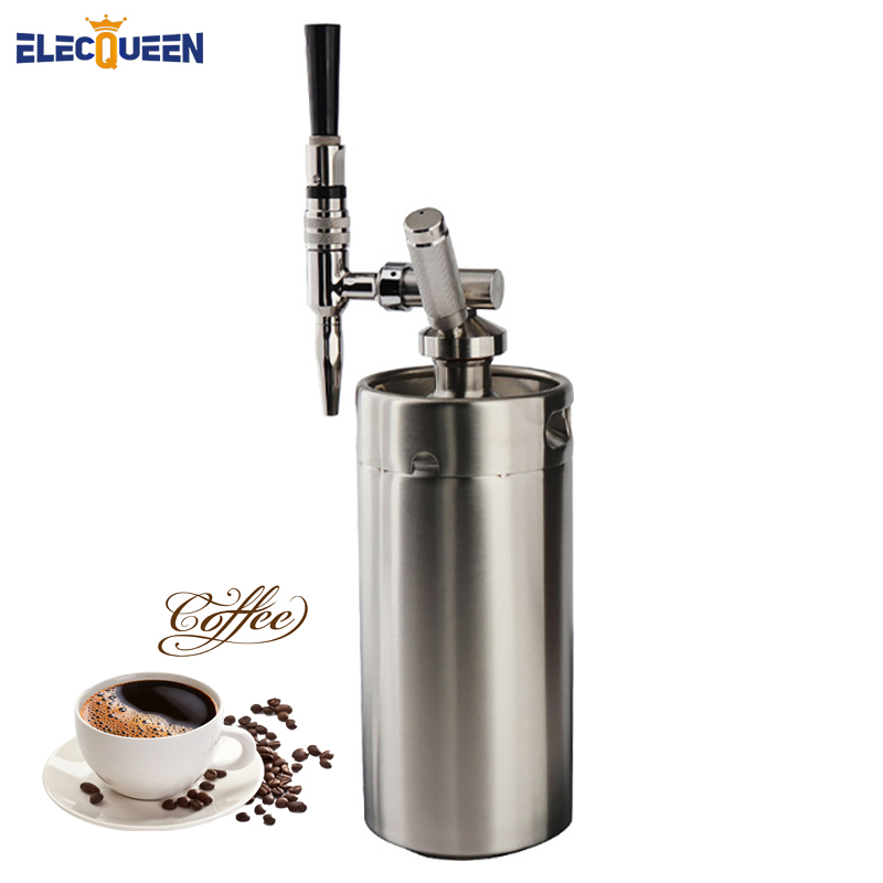 4L Mini Stainless Steel Keg with Nitro Cold Brew Coffee Tap Home brew coffee System Kits
