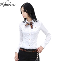 Shirts Women Tops And Blouses 2016 New Fashion Top Femme Turn Down Collar Long Sleeve Big