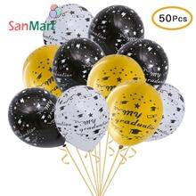 50Pcs Graduation Party Balloons 2019 Congrats Grad Balloon Black Gold My Decoraions